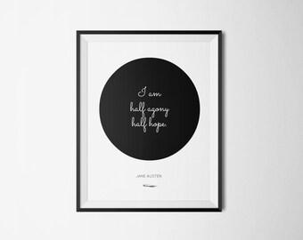 Jane Austen Literary Print - Bookish Quote Poster