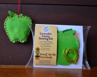 Kids Sewing Kit, Lavender Lovey Felt Apple Ornament