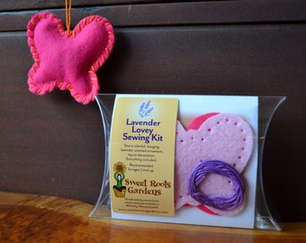 Kids Sewing Kit, Felt Butterfly Lavender Lovey