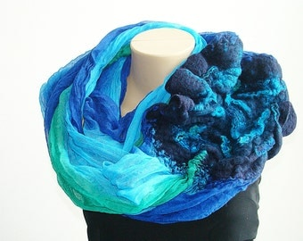 Infinity Loop Scarf Blue Green Fashion Scarf Circle Scarf Chunky Cowl Felted Scarf Spring Summer Trending Scarf Handmade Fashion Accessories