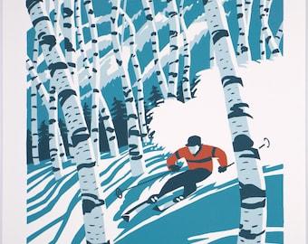 Sunday River, Maine- Screen Print, 14x18