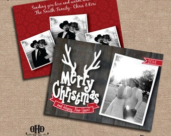 CUSTOM Christmas Card - Antler Merry Christmas 4 Pictures