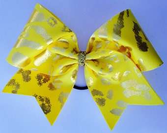 Cheer Bow - Yellow Cheetah