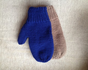 Knit Mittens Lined with Fleece (no cuff) - Adult XL