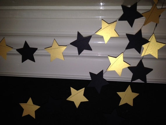 Black and Gold Paper Star Garland/ New Years Eve Party ...
