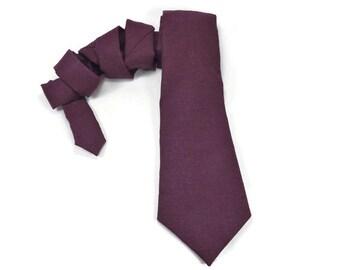Plum Linen tie, purple tie, orchid tie, linen necktie, purple linen, plum tie, plum wedding, dark purple, deep plum, neck tie