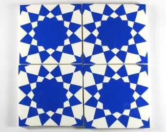 Hand Painted Moroccan Tiles - Blue and White Ceramic Tiles - Decorative Tiles - Backsplash Tiles - Kitchen Tiles - Bathroom Tiles- Coasters