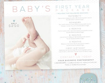 Baby's First Year Mini Sessions Marketing Board - Photoshop template - IB002 - INSTANT DOWNLOAD