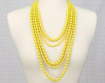 Multi Strand Statement Necklace Multi Layered Beaded Necklace Long Necklace Chunky Necklace Yellow