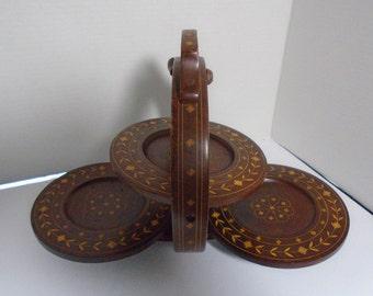 Vintage Inlaid Wood Serving Stand