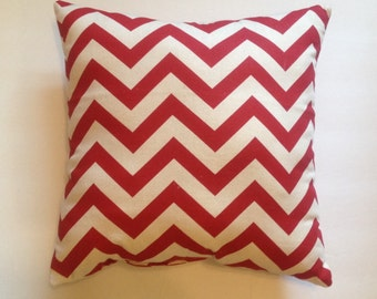 Red Chevron Throw Pillow