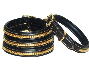 Clearance! 8 Pounds only! Strong leather dog collar made fromsoft european leather with solid brass clinchers and solid brass fittings