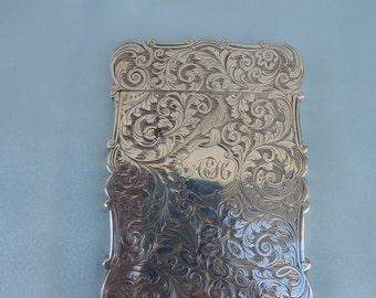 Nathaniel Mills Solid Silver Card Case Birmingham. 1845.