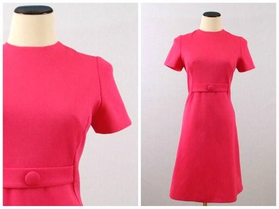 Vintage 1980s Hot Pink Sheath Dress - Size Medium