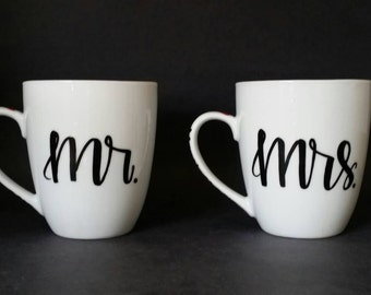 Mr. and Mrs. his and hers modern calligraphy  Coffee Mugs // calligraphy mugs // mr and mrs modern mugs