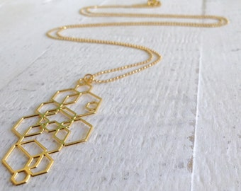 Dainty Hexagons Necklace, Long Necklace, Bridesmaids Gift Ideas, Geometric Necklace, Long Necklace, Gold Necklace
