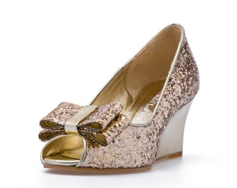Ashley, Gold Glitter Wedges Wedding Shoes, Gold Glitter BridalWedges, Garden Wedding, Beach Wedding, Bridal Shoes