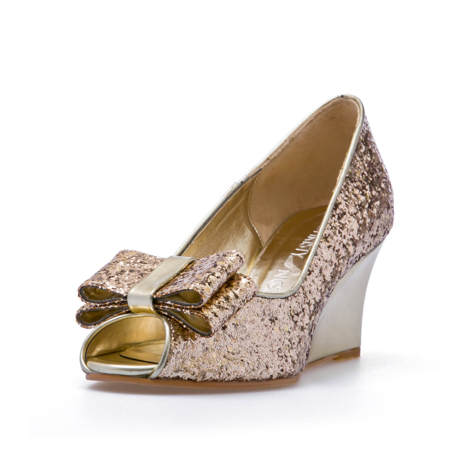 Ashley Gold Glitter Wedges Wedding Shoes Gold Glitter