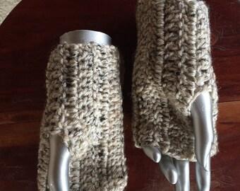 Crochet Dark Speckled Beige Fingerless Gloves