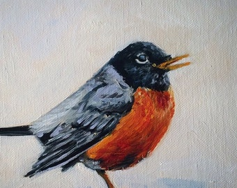 "8""x10"" oil Painting of The First Robin"