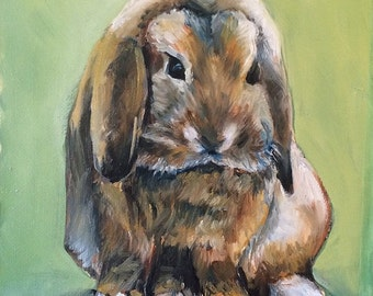 "8""x10"" oil Painting of Floppy Eared Bunny"