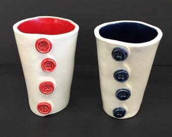 Porcelain 4 Button Cups (Ceramic)
