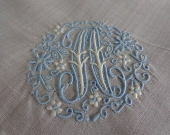 "Beautiful Vintage Linen Hankie Madeira Embroidered Raised Monogram ""A"" with Tag"