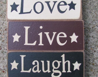 59217 - Live Love and Laugh Blocks set of 3 (Cream,Burgundy and Black)