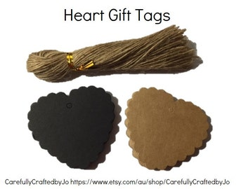 Heart Kraft Gift Tag - Set of 25, 50,100 +Twines - Black/Kraft Perfect for Perfect for wedding, baby shower favours, goodie bag tags