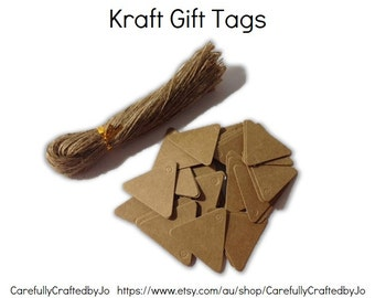 25, 50, 100 Triangle Kraft Gift Tags Die Cut &Twines DIY Gift Tags - Baby shower favours,gift tags,goodie bag tags, price tags, bunting