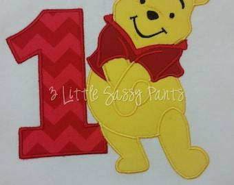 Winnie The Pooh Birthday Shirt, Boys Birthday Shirt, Custom Disney Shirt, Applique Shirt, Embroidered Shirt, Pooh Bear Shirt