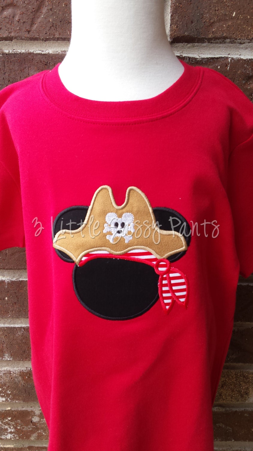 Mickey Mouse Pirate Embroidered Red Shirt Mickey Pirate