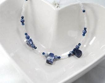 Blue Soldite and Denim Lapis glass beaded necklace