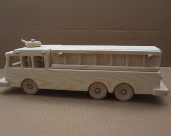 Handcrafted Wooden Fire Truck 123