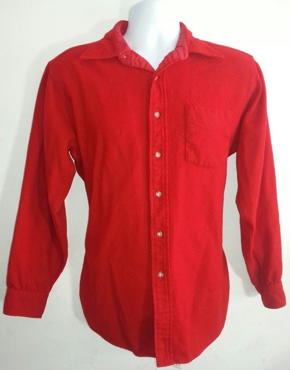 Vintage pendleton men 39 s red wool shirt size l by eagleages for Mens red wool shirt