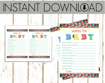 Baby Shower Wishes - Eric Carle Hungry Caterpillar - Instant Download Printable