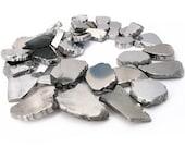 "15"" Agate 25mm 30mm Graduated Silver tone geometric slab freeform flat pebble drop pendant beads gemstone - PICK half / full strand"