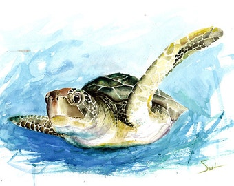 TURTLE WATERCOLOR PRINT - turtle painting, sea life print, turtle wall decor, sea turtle wall art, marine art, turtle gift, turtle print