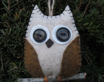 Felt Owl Ornament on a branch, golden brown wings, single owl ornament