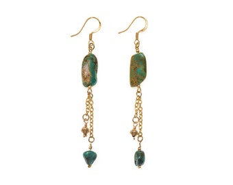 Shakti Earrings with African Turquoise, in yellow gold- turquoise dangle earrings- african turquoise- turquoise and gold earrings