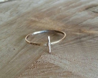 14k gold solid hammered cross ring unique hammered gold ring gold cross ring hammered gold ring