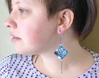 Long Length Twinkling LED, Blue and Silver Square Electronic Earrings, Solar Powered. Item 2105-29