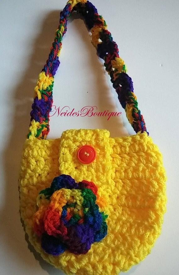 Little girls purse, Crochet Girls Purse, Toddler Purse, Crochet Purse ...