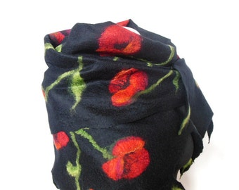 Felted scarf ,hand  felted scarf , wool scarf,  merino wool scarf,black red poppy, OOAK scarf, one of the kind, unique scarf ,poppy scarf