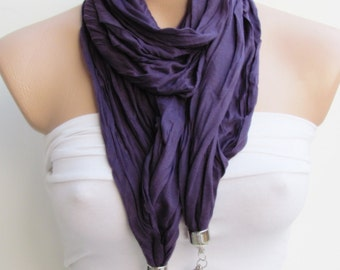 Purple Jewelry Scarf - Spring Fashion Scarf-Headband-Necklace-Combed Cotton Scarf Infinity Scarf- Spring Accessory-Long Scarf