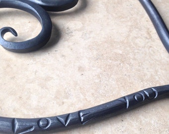 Iron Heart Anniversary Gift, 6th Anniversary or Wedding Gift, LOVE YOU Heart of Steel, Blacksmith Made