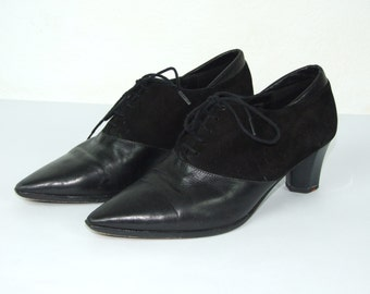 90's vintage women's leather high heels shoes, size 38.5