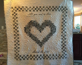 Heart Quilt for Wedding & Family