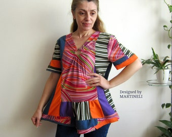 Crazy Patchwork Top, Boho Gypsy Top, Recycled Clothing, Recycled Denim,Colorful Recycled