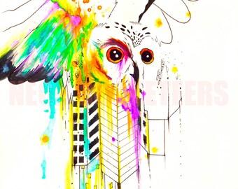 5x7 Owl City Original Watercolor Bird Wings Art Print